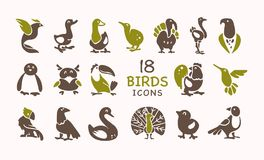 Vector collection of flat cute bird icons isolated on white background. Exotic bird silhouettes, domestic royalty free illustration