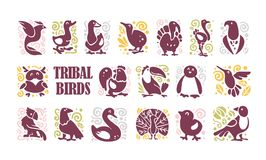 Vector collection of flat cute tribal bird icons & ornament isolated on white background. Exotic bird silhouette, domestic farm, forest, northern & tropic stock illustration