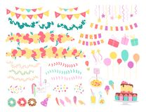 Vector collection of flat decor elements for kids birthday party - balloons, garlands, gift box, candy, pinata, bd cake etc. Flat hand drawn style. Good for vector illustration