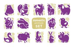 Vector collection of flat domestic cute animal icons isolated on white background. Farm animals and birds symbols. Hand drawn home animal emblems. Perfect for vector illustration