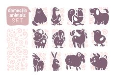 Vector collection of flat domestic cute animal icons isolated on white background. Farm animals and birds symbols. Hand drawn home animal emblems. Perfect for royalty free illustration