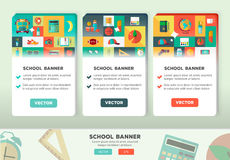 Vector collection of flat education design concepts.Vertical banners set with school items. Royalty Free Stock Image