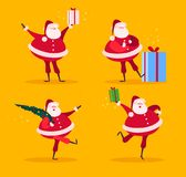 Vector collection of flat funny Santa Claus characters with fir tree and gift boxes isolated on yellow background. stock illustration
