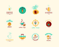 Vector collection of flat and hand drawn coffee logo. stock illustration