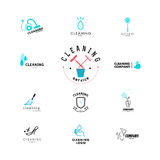 Vector collection of flat logo for cleaning company. Clearing service insignia. Cleaning industry flat icons Stock Image