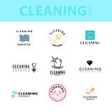 Vector collection of flat logo for cleaning company. Clearing service insignia. Cleaning industry flat icons Royalty Free Stock Photos