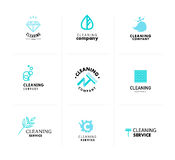Vector collection of flat logo for cleaning company. Stock Images
