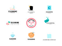 Vector collection of flat logo for cleaning company. Royalty Free Stock Photography