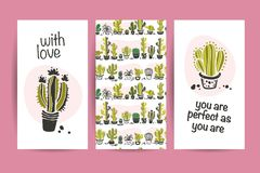 Vector collection of flat love cards with funny hand drawn cacti icons, lettering congratulations and seamless pattern isolated on. White background. Valentine Royalty Free Stock Photo