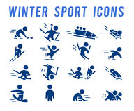 Vector collection of flat simple athlete silhouettes isolated on white background. Winter sport icons. Competition symbols. Good for advertising and poster Royalty Free Stock Images