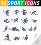 Vector collection of flat simple athlete silhouettes isolated on white background. Winter sport icons. Competition symbols. Good for advertising and poster Stock Photography