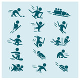 Vector collection of flat simple athlete silhouettes isolated on white background. Winter sport icons. Competition symbols. Good for advertising and poster Stock Photo