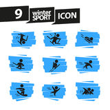 Vector collection of flat simple athlete silhouettes isolated on white background. Winter sport icons. Royalty Free Stock Photography