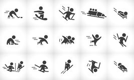 Vector collection of flat simple athlete silhouettes isolated on white background. Winter sport icons. Competition symbols. Good for advertising and poster Stock Photos