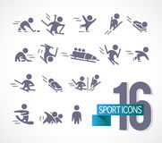 Vector collection of flat simple athlete silhouettes  on white background. Winter sport icons. Competition symbols. Good for advertising and poster design Royalty Free Stock Photography