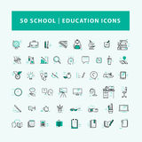 Vector collection of flat simple linear education icons isolated on white background. Royalty Free Stock Photos