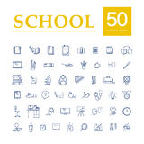Vector collection of flat simple linear education icons isolated on white background. Stock Photography