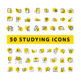 Vector collection of flat simple linear education icons isolated on white background. Royalty Free Stock Images