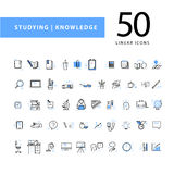 Vector collection of flat simple linear education icons isolated on white background. Royalty Free Stock Image