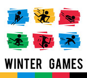 Vector collection of flat sport icons  on colorful abstract backgrounds. Winter sports illustration. Athlete figures. Active lifestyle, season activities Stock Photo