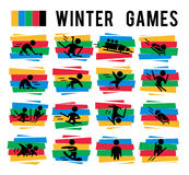 Vector collection of flat sport icons isolated on colorful backgrounds. Winter sports illustration. Human figures. Active lifestyle, season activities Stock Photos