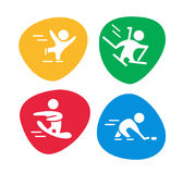 Vector collection of flat sport icons isolated on colorful backgrounds. Winter sports illustration. Human figures. Active lifestyle, season activities Stock Images