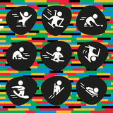 Vector collection of flat white sport icons  on colorful and black background. Royalty Free Stock Photography