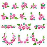 Vector collection of floral elements in grunge style. Vector set of floral elements in grunge style royalty free illustration