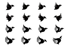 Vector Collection of Flying Bird Silhouettes design template stock illustration