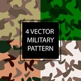 Vector collection of four military seamless patterns vector illustration