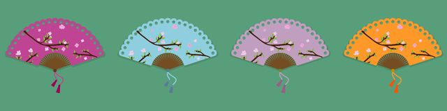 Vector collection of four oriental fans with flowers royalty free illustration