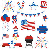 Vector Collection of Fourth of July Items Stock Image