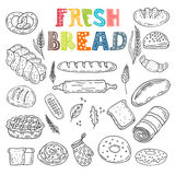 Vector collection of fresh bread. Hand drawn sketch style bakery Royalty Free Stock Photos