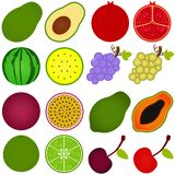 A vector collection of Fresh fruit cut in half Stock Photos
