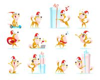 Vector collection of funny dog emoticons in santa hat isolated on white background. Happy puppy emoji set. Cartoon style. Good for Merry Christmas Royalty Free Stock Photos