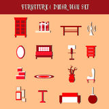 Vector collection of furniture and decor Stock Photos