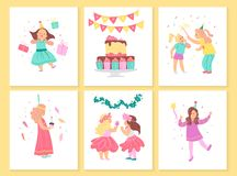 Vector collection of girls birthday party cards with bd cake, garlands, decor elements and happy kids characters. Flat cartoon style. Good for invitation, tags stock illustration