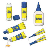 Vector collection of glue tubes, bottle and stick isolated on white. Cartoon Glue set. Vector collection of glue tubes, bottle and stick isolated on white royalty free illustration