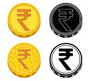 Set of coins with money symbols of India. Vector illustration. Vector collection of gold and black-and-white coin icons with sign rupee India and the countries Royalty Free Stock Photos