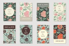 Vector collection of 8 greeting, invitation cards or flyers. Floral chinese hand drawn antique background in vintage style stock illustration