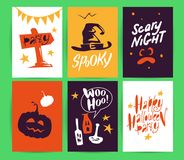 Vector collection of Halloween flat celebration cards, flayers with funny animals, traditional halloween elements and spooky party. Symbols isolated on black Royalty Free Stock Images