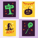 Vector collection of Halloween flat celebration cards, flayers with funny animals, traditional halloween elements and spooky party. Symbols isolated on black Royalty Free Stock Photo