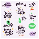 Vector collection of Halloween flat celebration quotes, lettering, phrases and traditional halloween elements spooky party symbols. Isolated on white textured Stock Photos