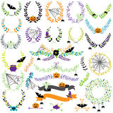 Vector Collection of Halloween Florals, Laurels and Wreaths Stock Photography
