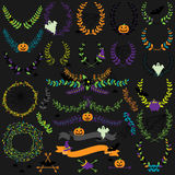 Vector Collection of Halloween Florals, Laurels and Wreaths Stock Photos