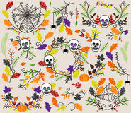Vector Collection of Halloween Florals, Laurels and Wreaths Royalty Free Stock Photography