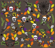 Vector Collection of Halloween Florals, Laurels and Wreaths Stock Image