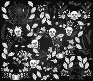 Vector Collection of Halloween Florals, Laurels and Wreaths Stock Photo