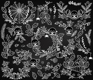 Vector Collection of Halloween Florals, Laurels and Wreaths Royalty Free Stock Photos