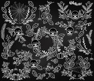 Vector Collection of Halloween Florals, Laurels and Wreaths Royalty Free Stock Images